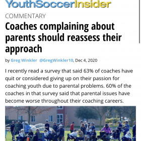 COACHES COMPLAINING ABOUT PARENTS SHOULD REASSESS THEIR APPROACH – SOCCER AMERICA